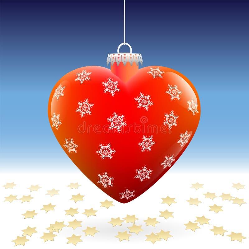 Étoiles de neige de coeur de boule de Noël illustration stock