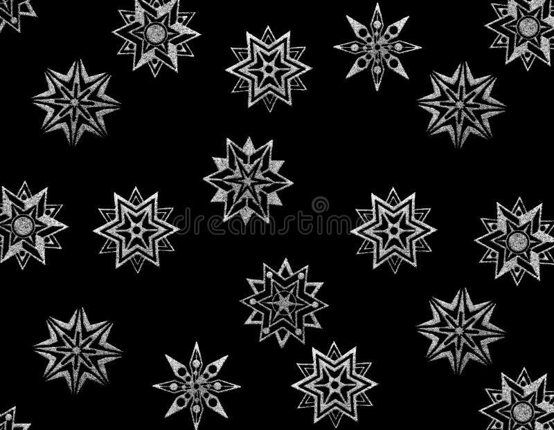 Étoiles de neige sur le noir illustration libre de droits