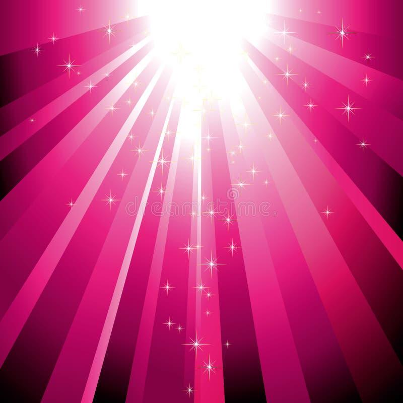 Étoiles de pétillement descendant sur l'éclat magenta de lumière illustration libre de droits