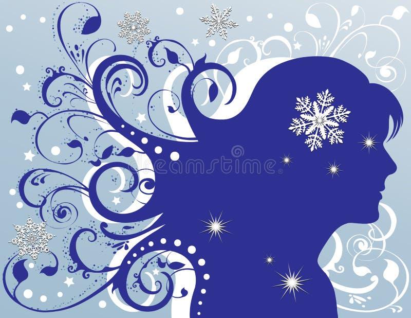 Étoiles de pétillement femelles grunges de flocons de neige illustration de vecteur