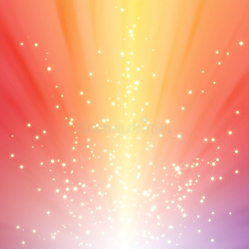 Étoiles de pétillement sur l'éclat coloré de lumière illustration stock