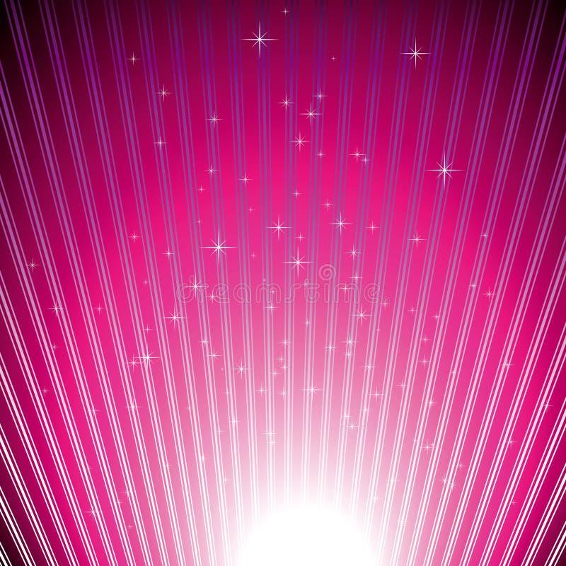 Étoiles de pétillement sur l'éclat magenta de lumière illustration de vecteur