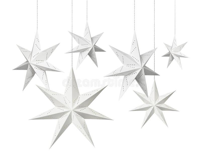 Étoiles de papier de Noël blanc photos libres de droits