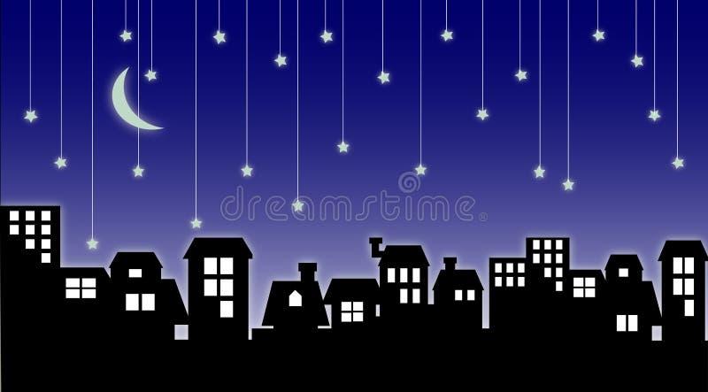 Étoiles de paysage urbain et de chute