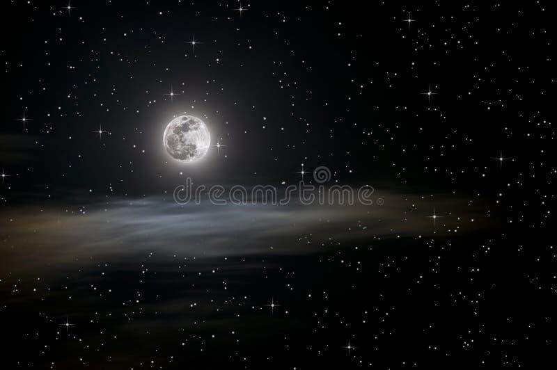 étoiles de pleine lune illustration libre de droits