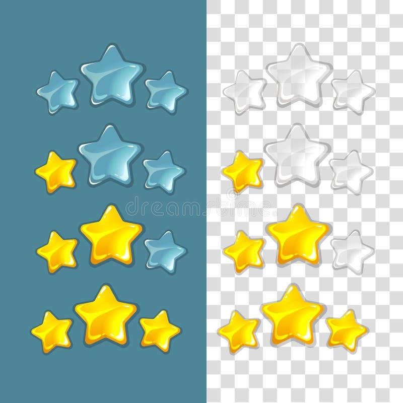 Étoiles de rang Éléments de jeu de vecteur dans le style de bande dessinée illustration de vecteur