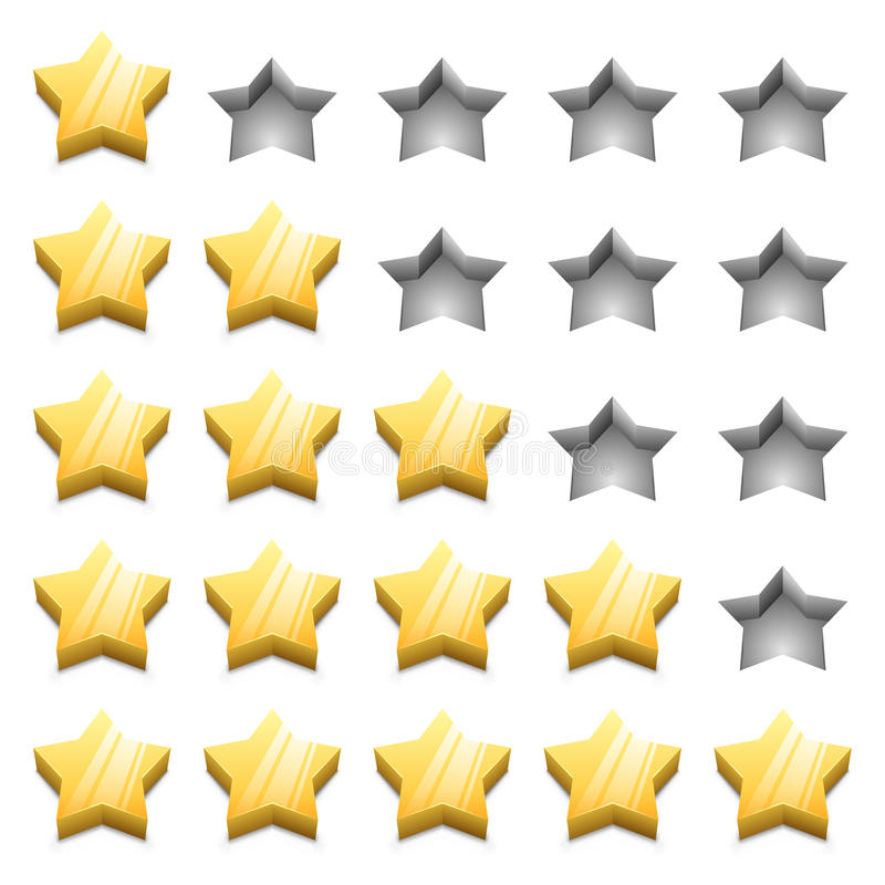 étoiles de rang du jaune 3D illustration libre de droits
