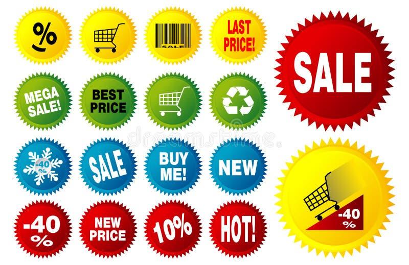 Étoiles de vecteur pour des prix d'escompte avec le texte illustration stock