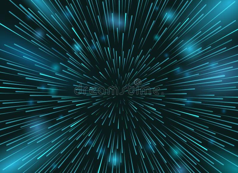 Étoiles de vitesse à l'arrière-plan de vecteur d'espace Lumières d'étoile au papier peint d'action de ciel nocturne illustration stock
