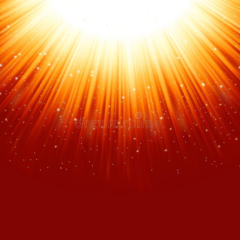 Étoiles descendant sur un chemin de lumière d'or illustration de vecteur