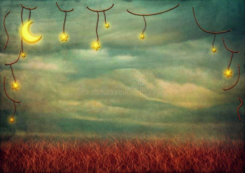 Étoiles et lune sur la corde illustration libre de droits