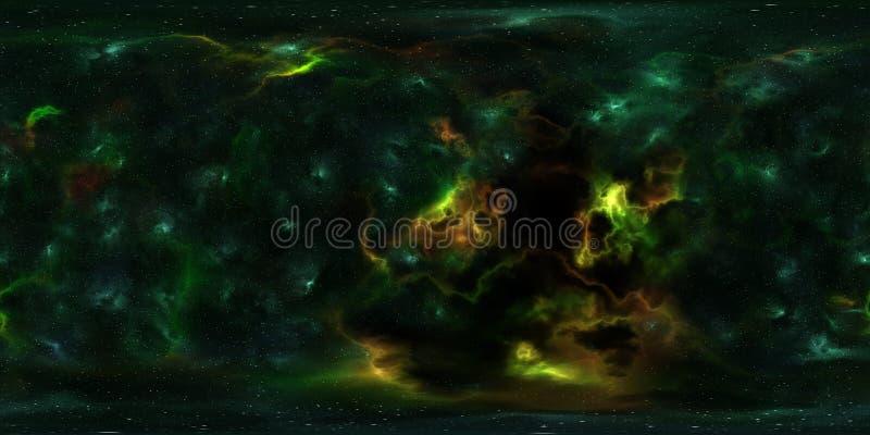 Étoiles et nébuleuse d'espace lointain panorama de 360 degrés photographie stock