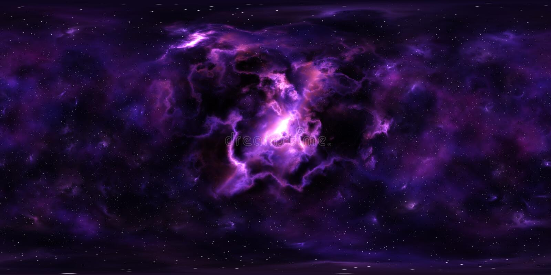 Étoiles et nébuleuse d'espace lointain panorama de 360 degrés photos stock