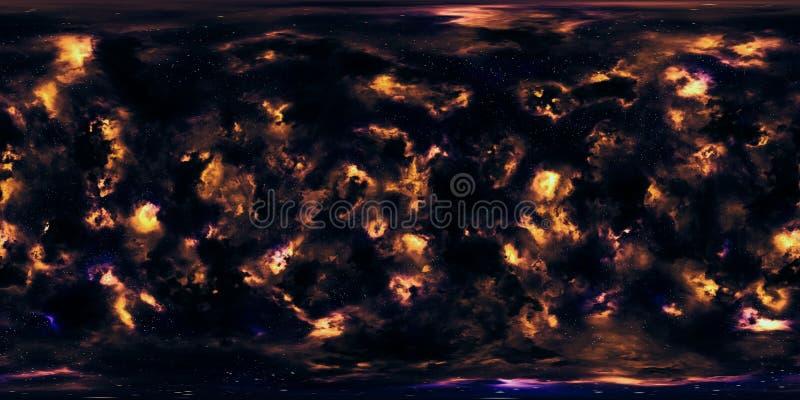 Étoiles et nébuleuse d'espace lointain panorama de 360 degrés image libre de droits