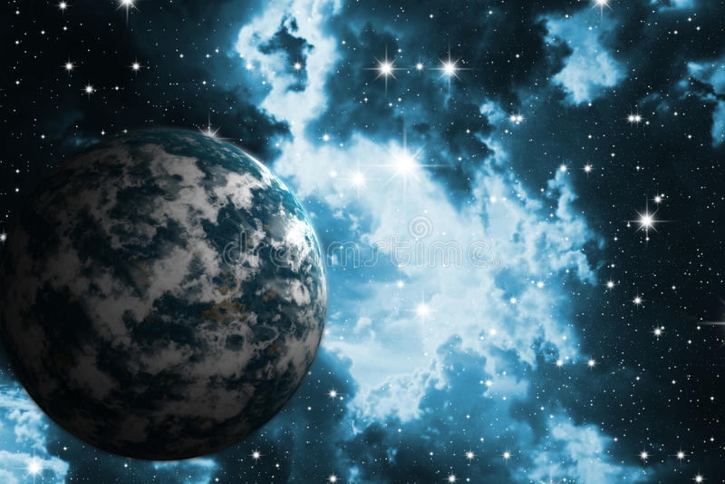 Étoiles et planète illustration de vecteur
