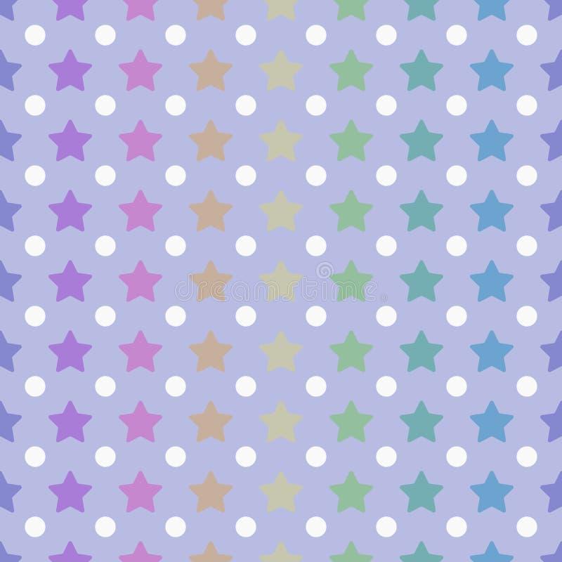 Étoiles et polka Dots Seamless Pattern de couleur d'arc-en-ciel illustration libre de droits
