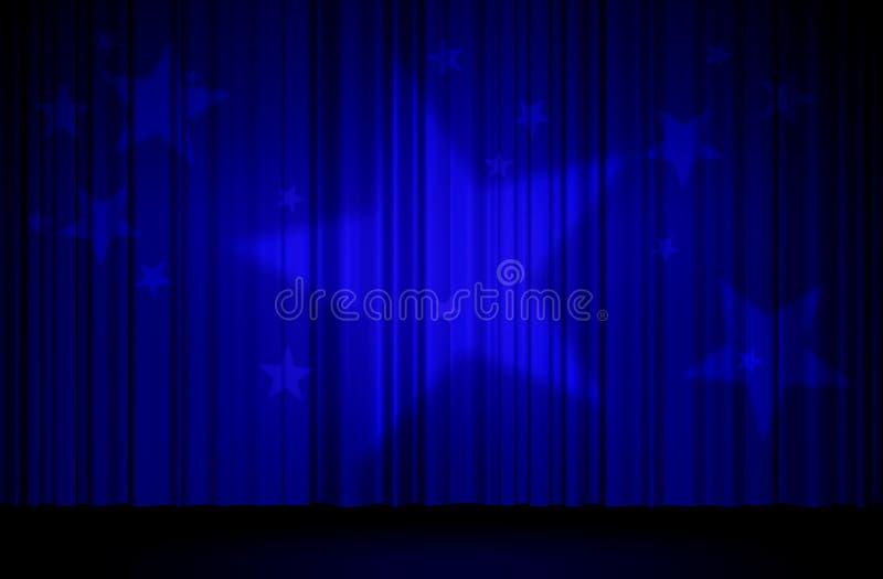 Étoiles et rideau bleu illustration stock