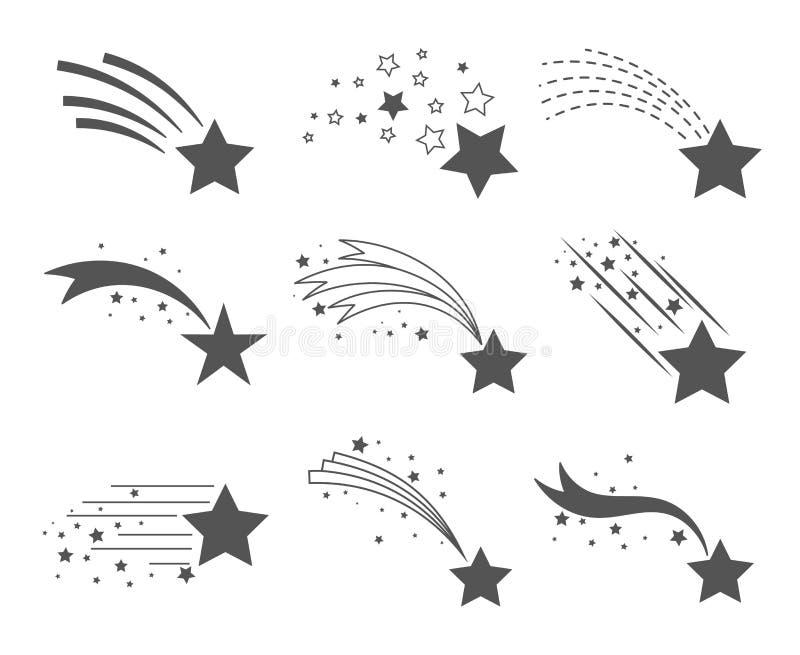 Étoiles filantes avec des icônes de queues illustration stock