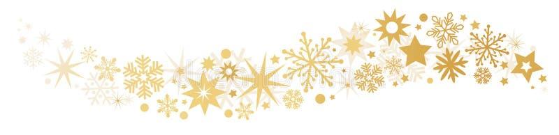 Étoiles filantes de bannière d'or illustration stock