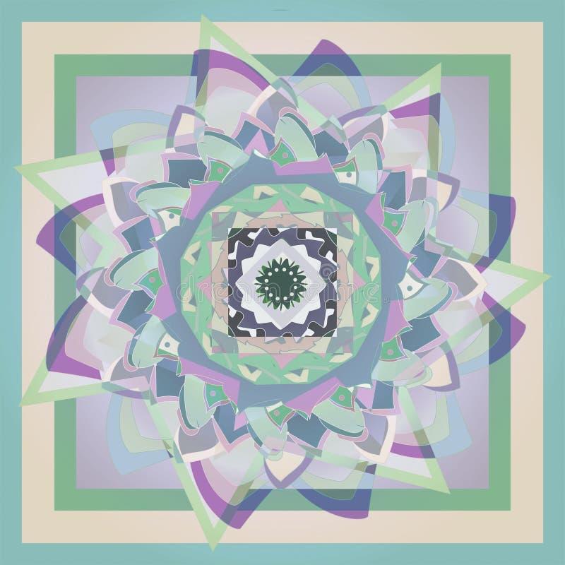 Étoiles, fleur de mandala de dahlia, à la palette de couleurs en pastel, à l'arrière-plan géométrique dans vert et beige illustration libre de droits