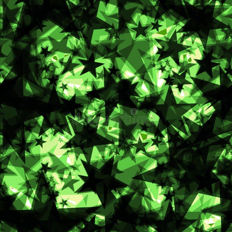 Étoiles foncées iridescentes métalliques sur un fond vert dans la projection illustration de vecteur