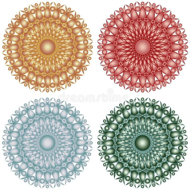 Étoiles géométriques de cercle modelées par dentelle métallique illustration libre de droits