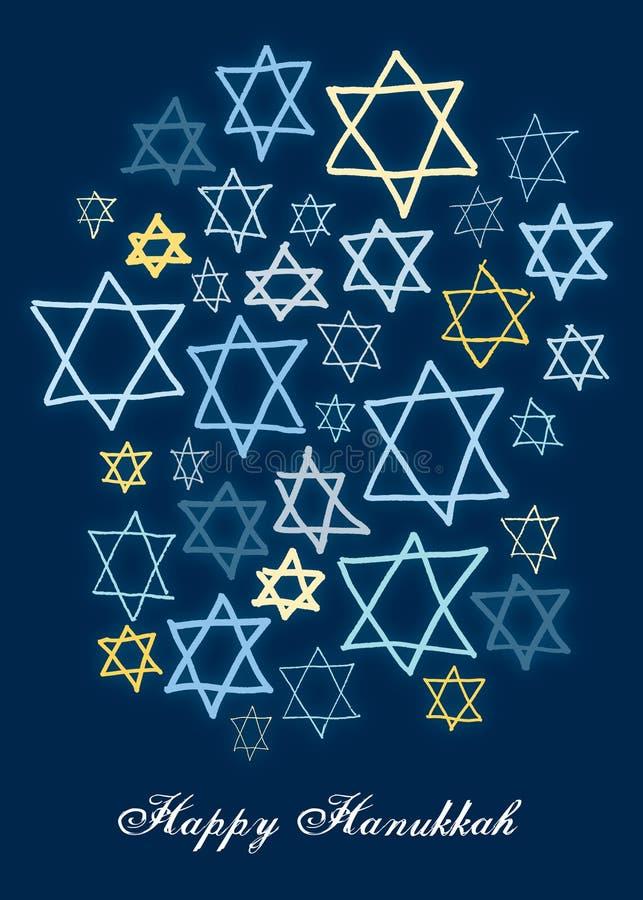 Étoiles heureuses de Hanukkah illustration libre de droits