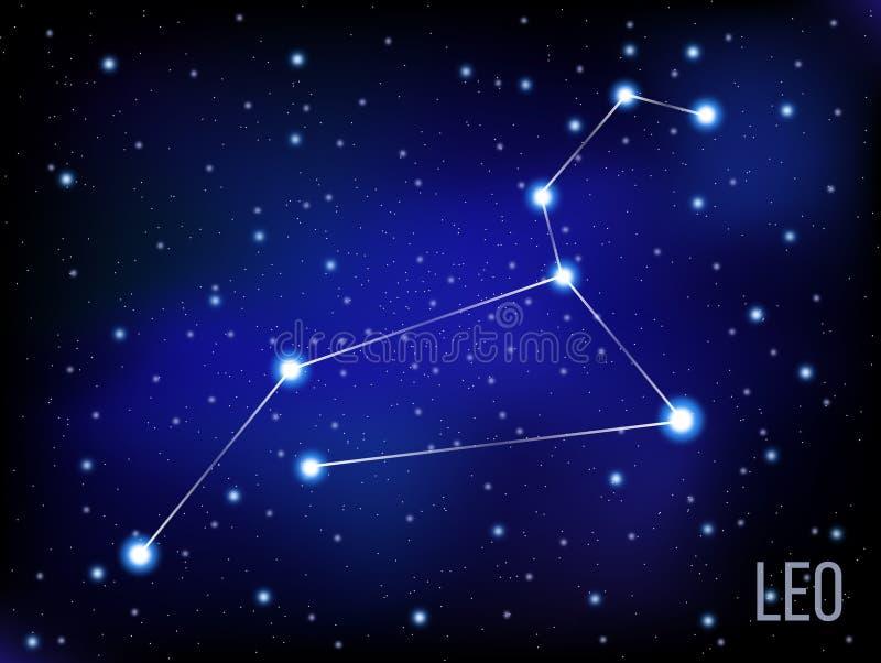 Étoiles lumineuses de signe de Leo Zodiac en cosmos Fond bleu et noir illustration libre de droits