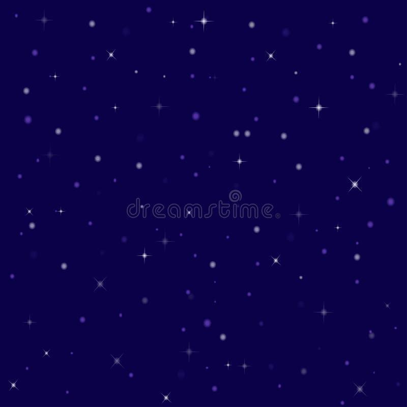 Étoiles lumineuses gentilles dans le ciel nocturne illustration stock