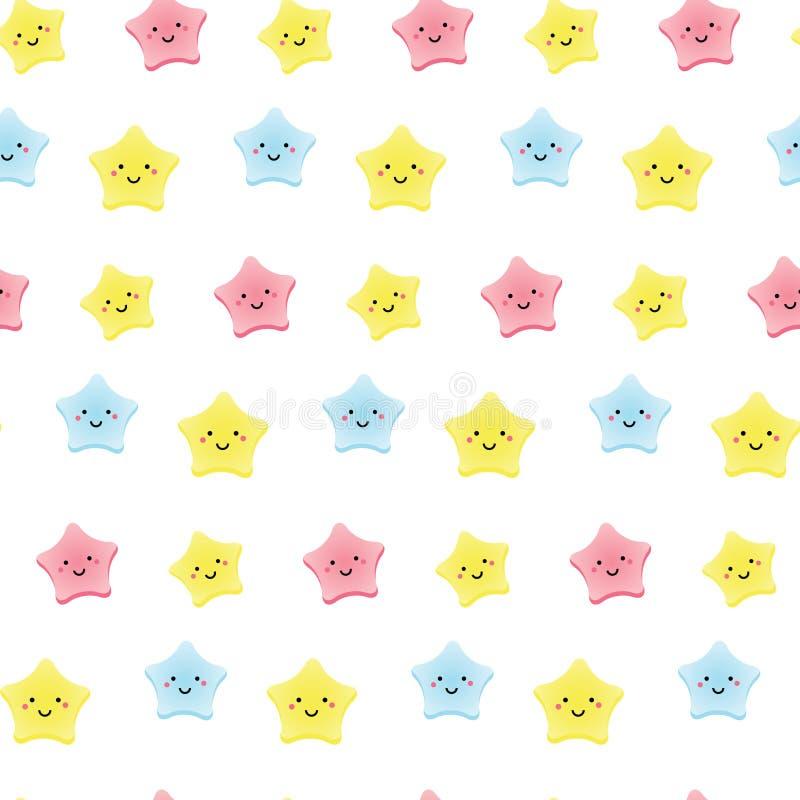 Étoiles mignonnes de kawaii Le fond pour des enfants, les bébés et les enfants conçoivent avec les caractères de sourire de ciel illustration libre de droits