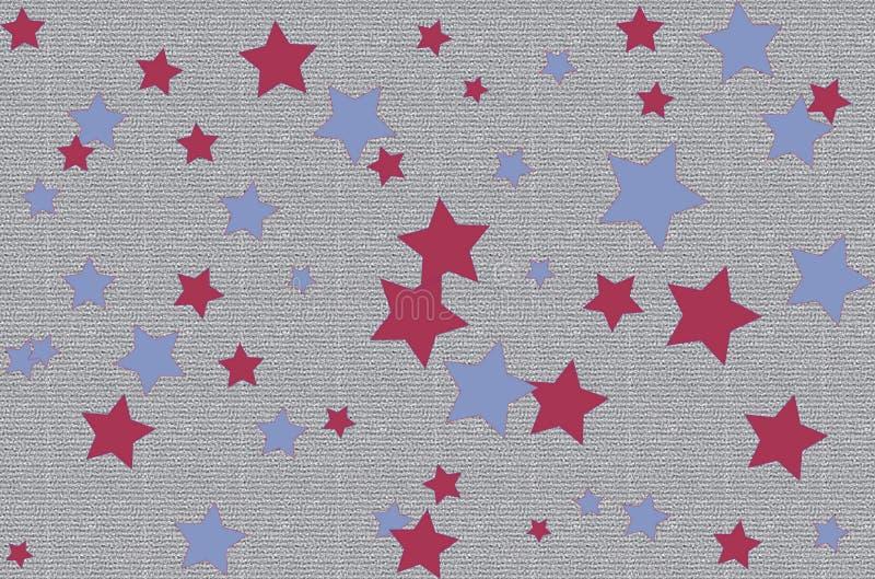 Étoiles rouges bleues papier peint, vecteur, fond, art, textile illustration de vecteur