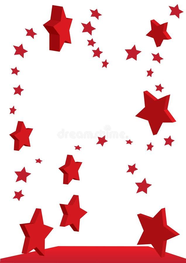Étoiles rouges volantes illustration stock