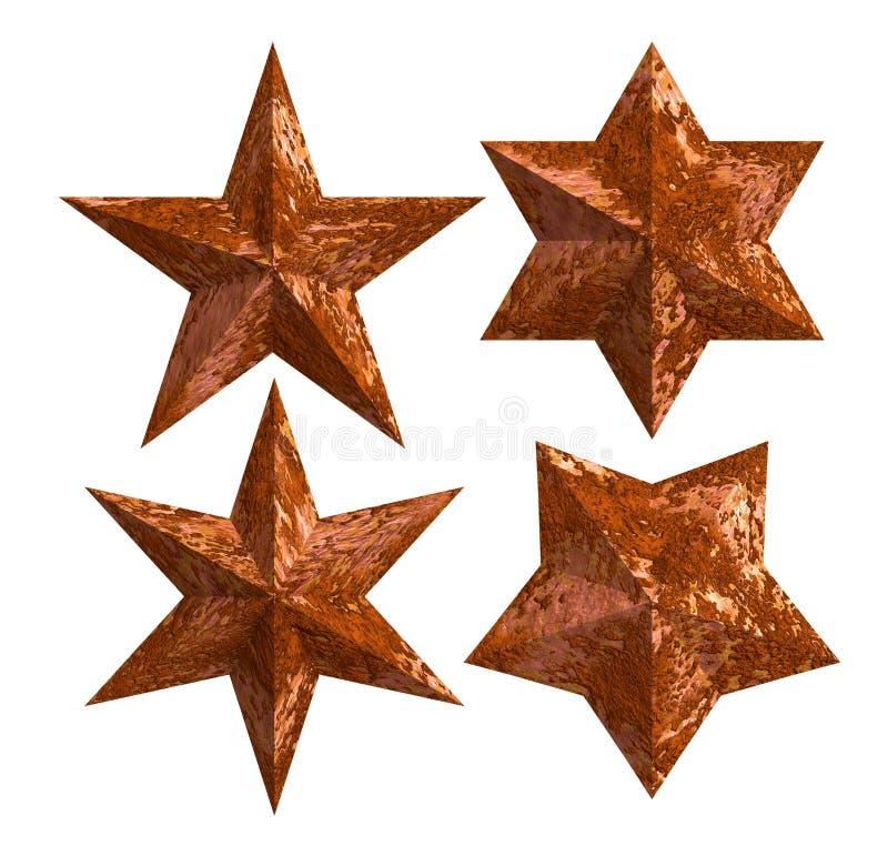 Étoiles rouillées d'isolement images stock