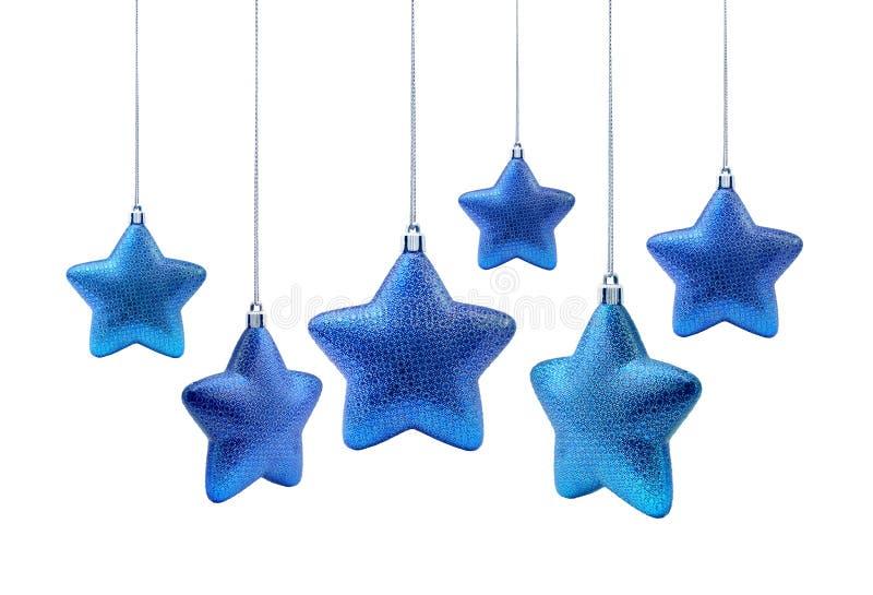 Étoiles roundish bleues de Noël photographie stock