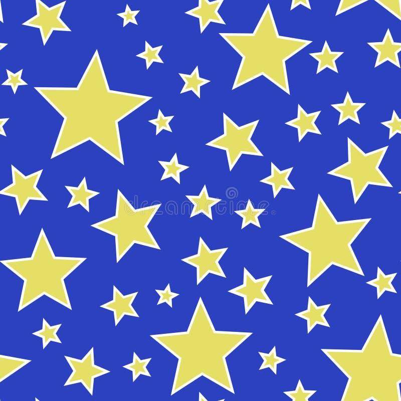 Étoiles sans couture de jaune sur le vecteur bleu d'illustration de fond illustration stock