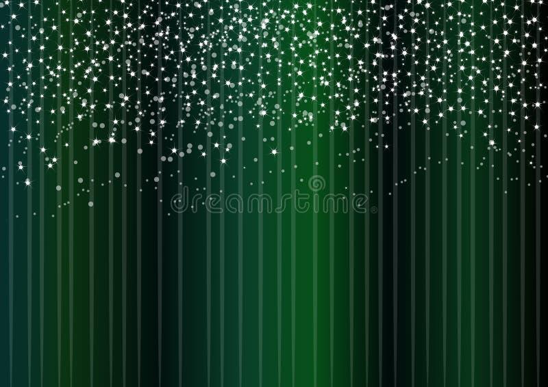Étoiles sur le fond vert illustration de vecteur