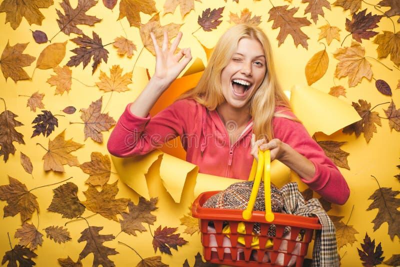Étonnez la femme avec le panier à provisions regardant l'appareil-photo Fille d'automne se préparant à la vente d'automne femme d photographie stock