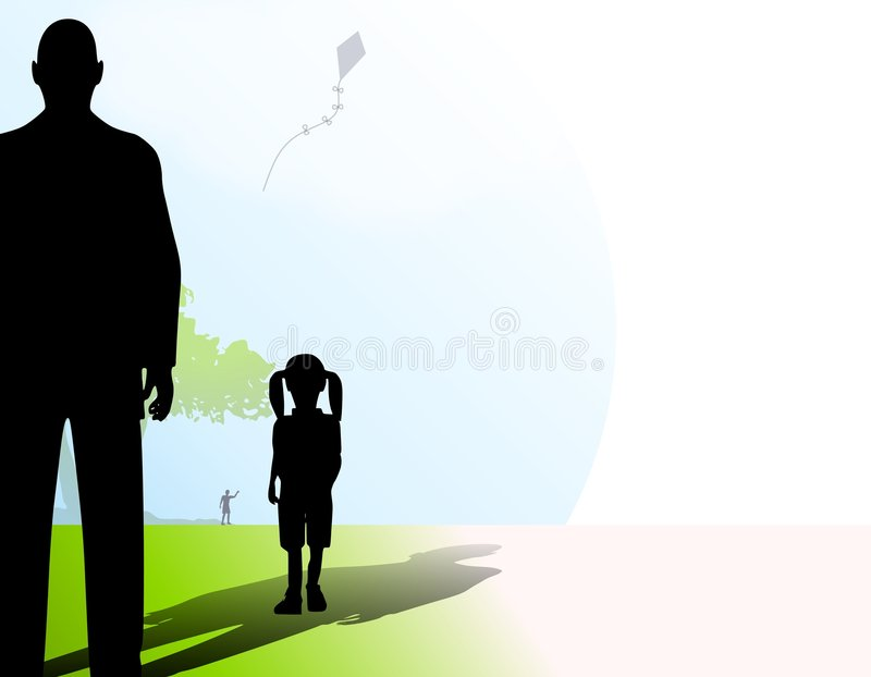 Étranger avec la petite fille en stationnement illustration libre de droits