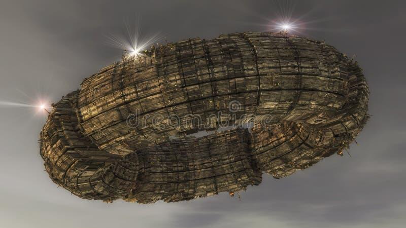 Étranger d'UFO de vaisseau spatial illustration de vecteur