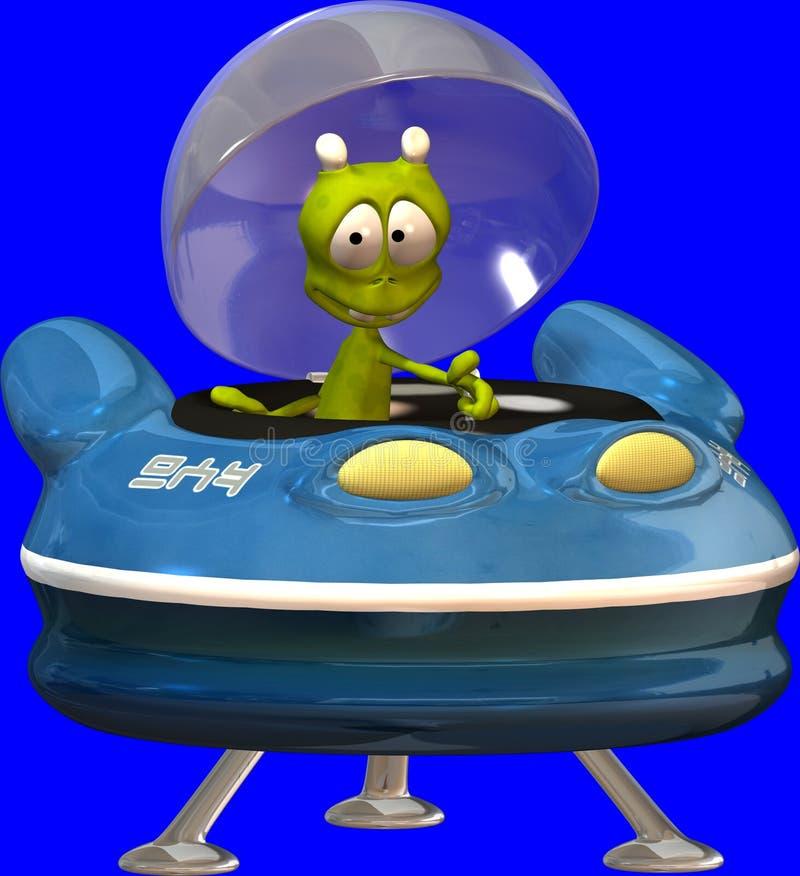 Étranger de Toon avec l'UFO illustration de vecteur