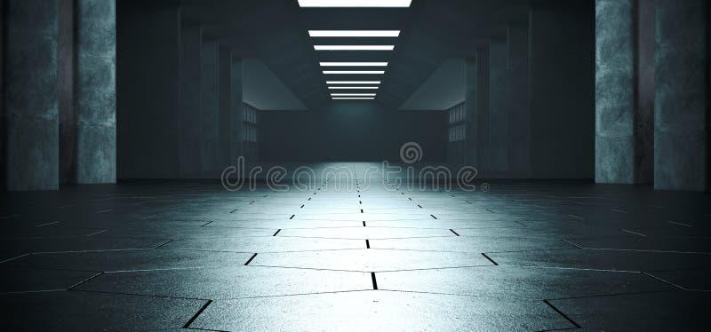 Étranger futuriste moderne concret foncé vide brillant Hexago de Sci fi illustration de vecteur