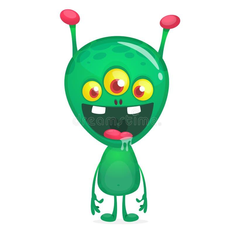 Étranger heureux drôle vert de bande dessinée Caract?re ?tranger de vecteur vert avec trois yeux illustration stock