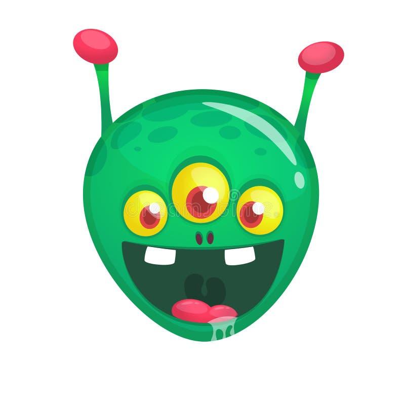 Étranger heureux drôle vert de bande dessinée Caract?re ?tranger de vecteur vert avec trois yeux illustration de vecteur