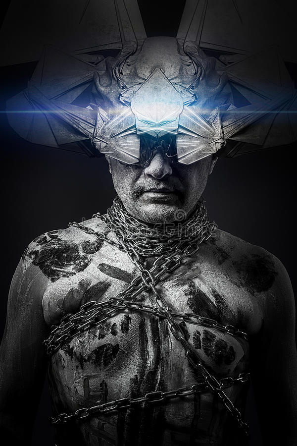 Étranger, homme enchaîné avec le masque d'imagination image libre de droits