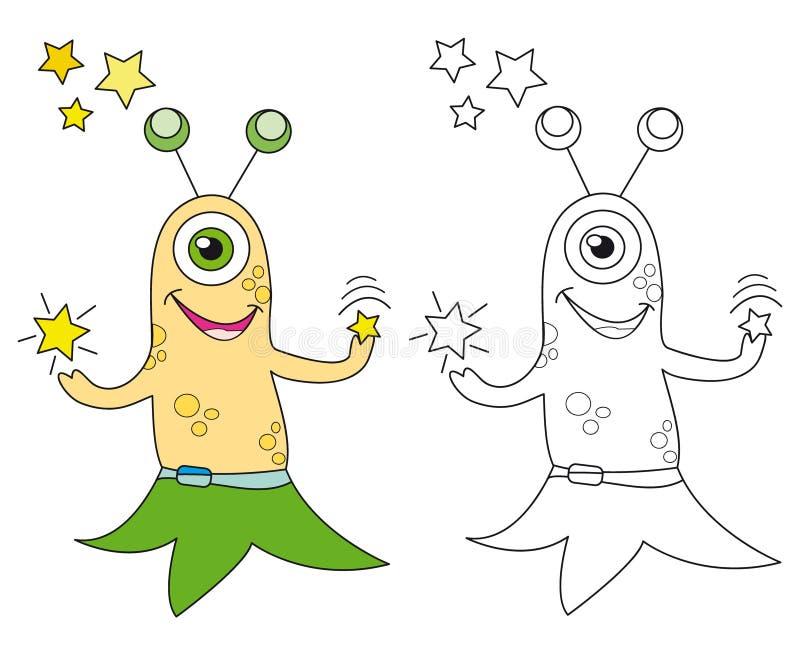 Étranger jouant avec des étoiles illustration de vecteur