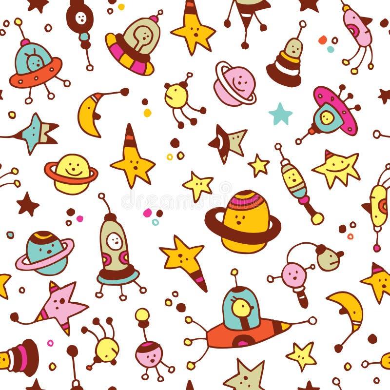 Étrangers, planètes, étoiles, modèle sans couture de cosmos de l'espace illustration stock