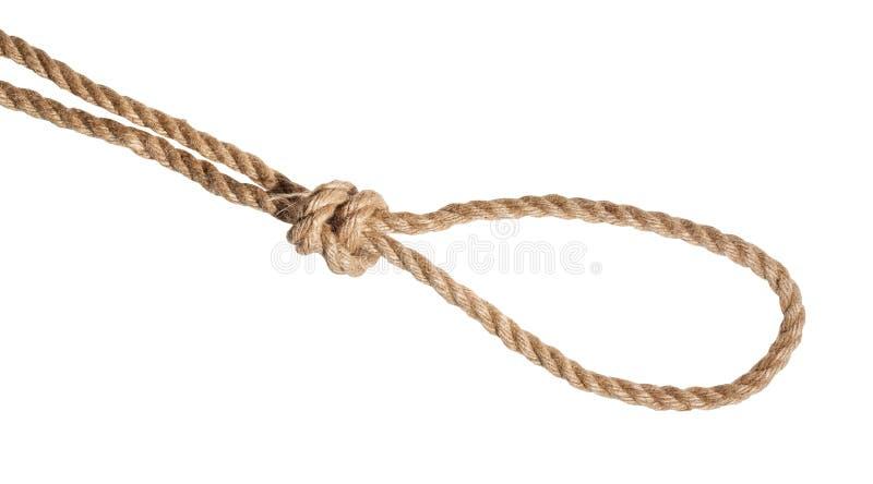 étranglez le noeud de piège attaché sur la corde de jute d'isolement photos stock