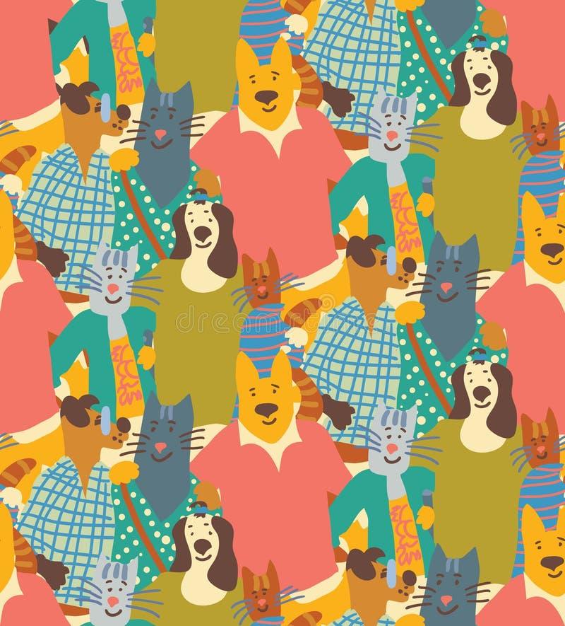 Étreignez les amis sans couture de modèle de foule d'amitié de chiens et de chats d'animaux familiers illustration de vecteur