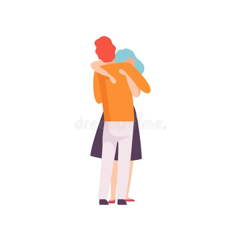 Étreindre affectueux de couples, jeune Mand romantique heureux et femme dans l'amour, illustration arrière de vecteur de vue illustration libre de droits