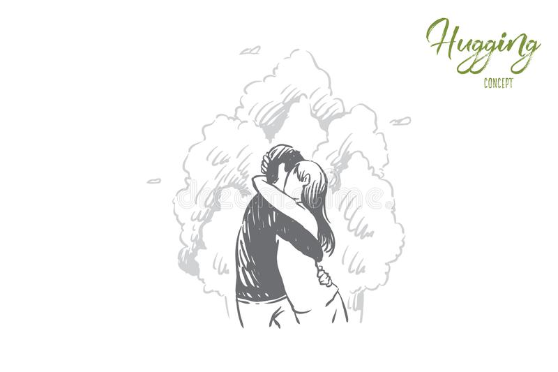 Étreindre d'amie et d'ami extérieur, jeune homme et femme la date romantique, célébration de Saint Valentin, datant illustration stock